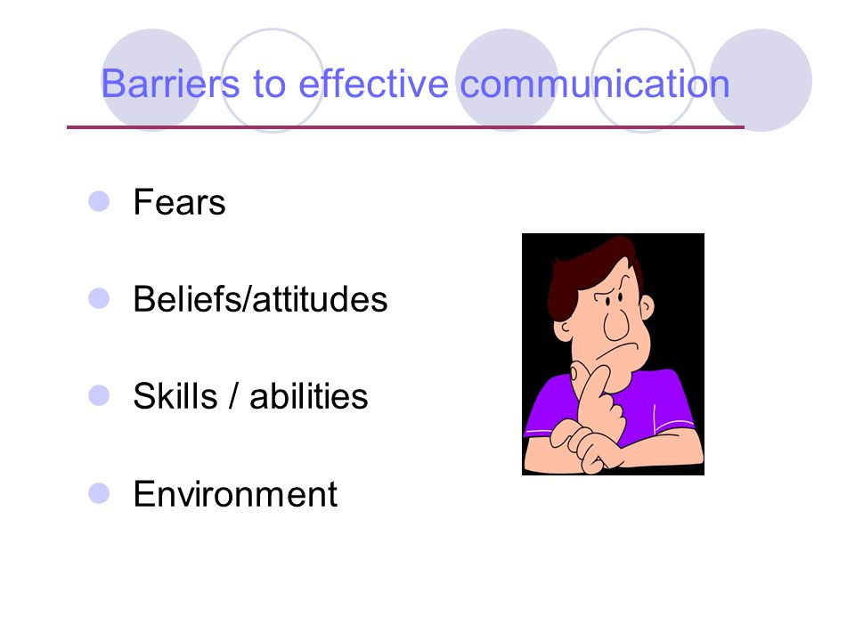 Barriers to effective communication Fears Beliefs/attitudes Skills / abilities Environment