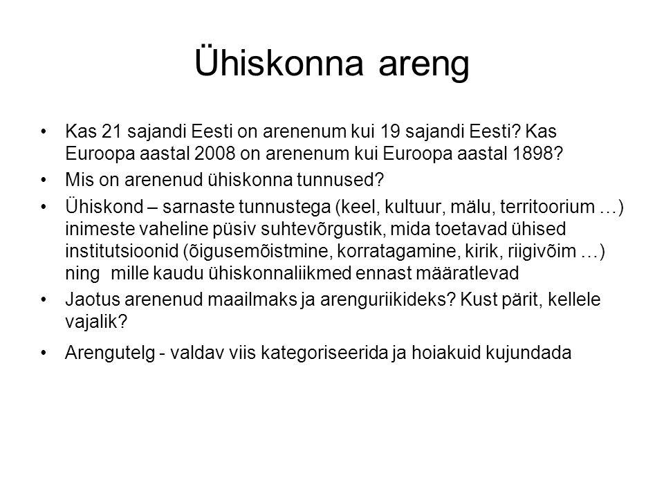 Ühiskonna areng Kas 21 sajandi Eesti on arenenum kui 19 sajandi Eesti.