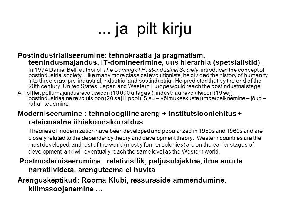 ... ja pilt kirju Postindustrialiseerumine: tehnokraatia ja pragmatism, teenindusmajandus, IT-domineerimine, uus hierarhia (spetsialistid) In 1974 Dan