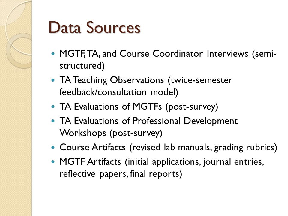 Data Sources MGTF, TA, and Course Coordinator Interviews (semi- structured) TA Teaching Observations (twice-semester feedback/consultation model) TA Evaluations of MGTFs (post-survey) TA Evaluations of Professional Development Workshops (post-survey) Course Artifacts (revised lab manuals, grading rubrics) MGTF Artifacts (initial applications, journal entries, reflective papers, final reports)