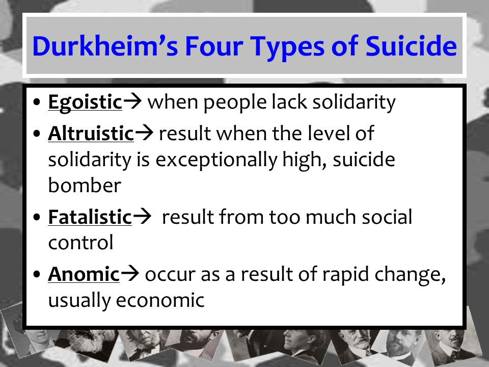 Durkheim's Four Types of Suicide Egoistic  when people lack solidarity Altruistic  result when the level of solidarity is exceptionally high, suicid