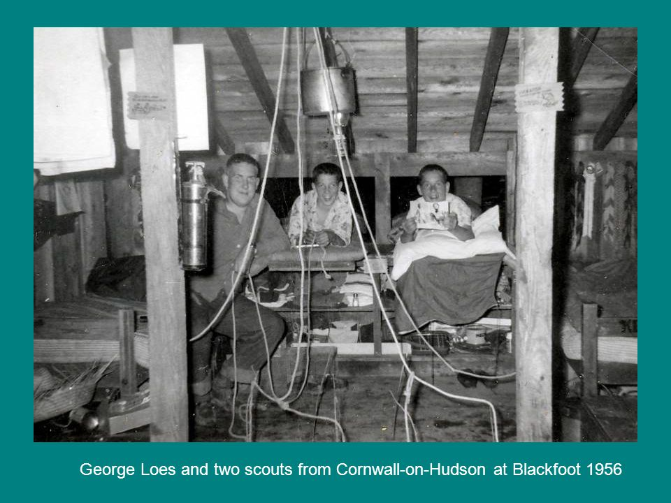 George Loes and two scouts from Cornwall-on-Hudson at Blackfoot 1956