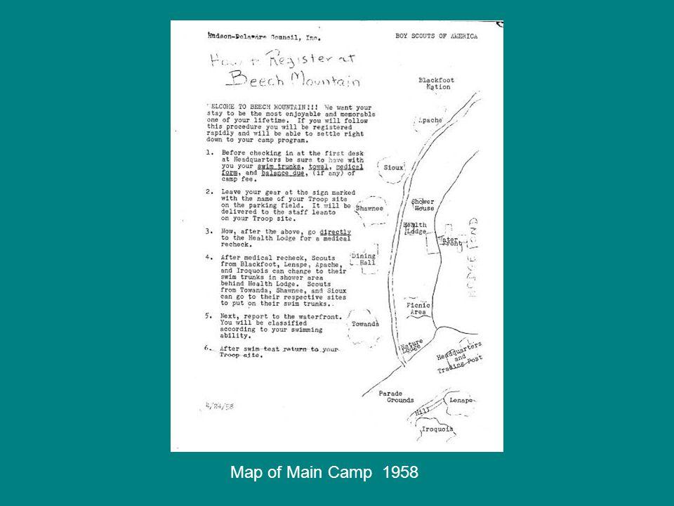 Map of Main Camp 1958