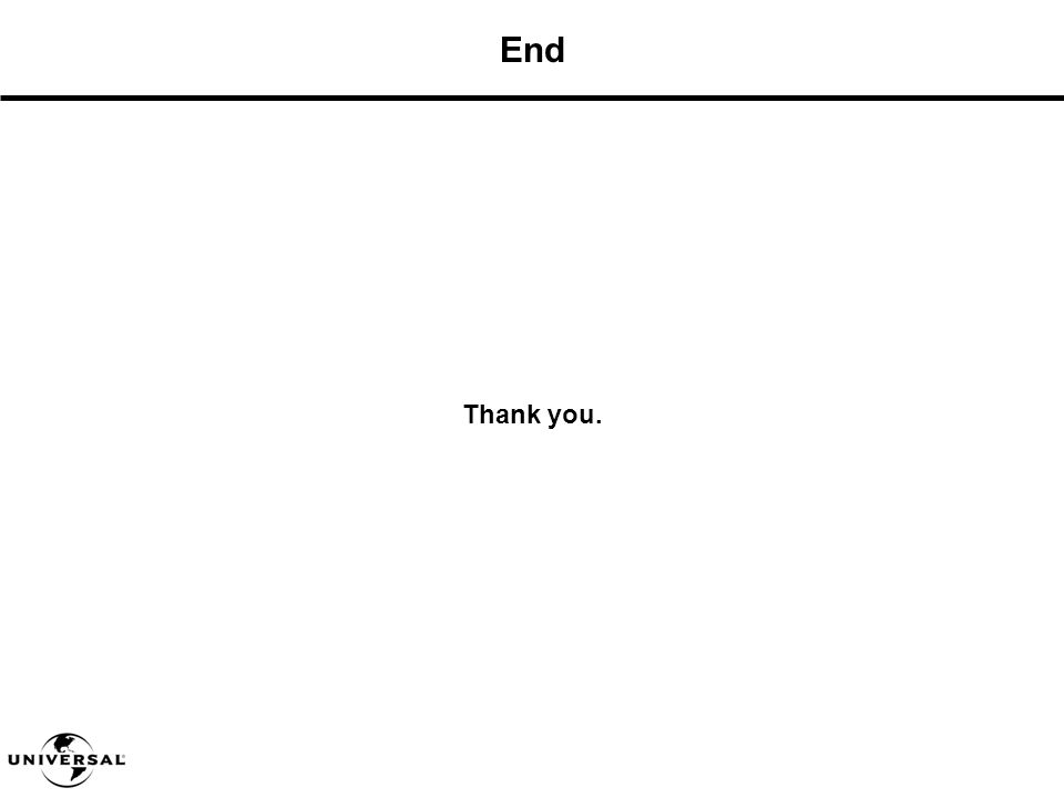 End Thank you.