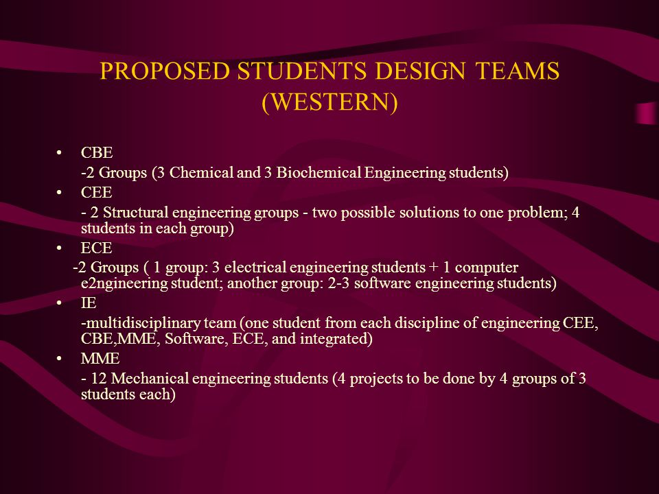 PROPOSED STUDENTS DESIGN TEAMS (WESTERN) CBE -2 Groups (3 Chemical and 3 Biochemical Engineering students) CEE - 2 Structural engineering groups - two possible solutions to one problem; 4 students in each group) ECE -2 Groups ( 1 group: 3 electrical engineering students + 1 computer e2ngineering student; another group: 2-3 software engineering students) IE -multidisciplinary team (one student from each discipline of engineering CEE, CBE,MME, Software, ECE, and integrated) MME - 12 Mechanical engineering students (4 projects to be done by 4 groups of 3 students each)