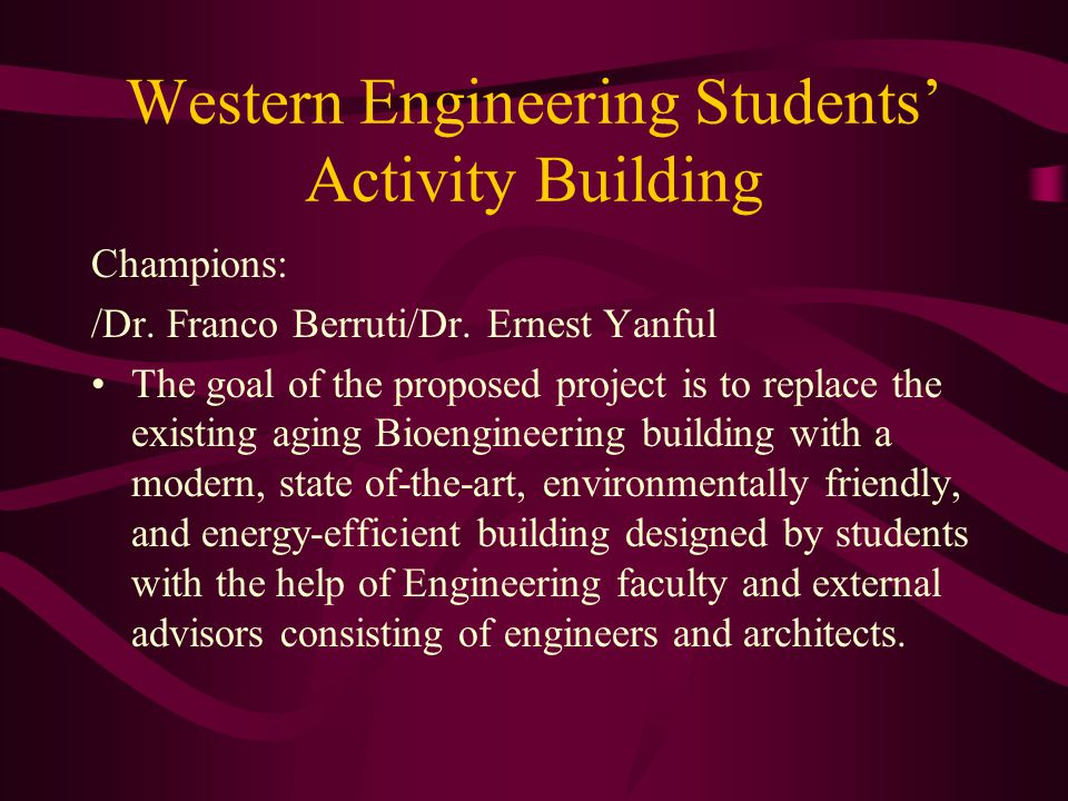 Western Engineering Students' Activity Building Champions: /Dr.