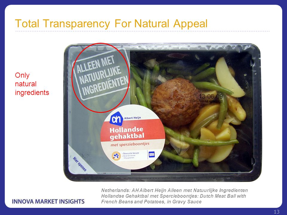 Total Transparency For Natural Appeal Netherlands: AH Albert Heijn Alleen met Natuurlijke Ingredienten Hollandse Gehaktbal met Spercieboontjes: Dutch
