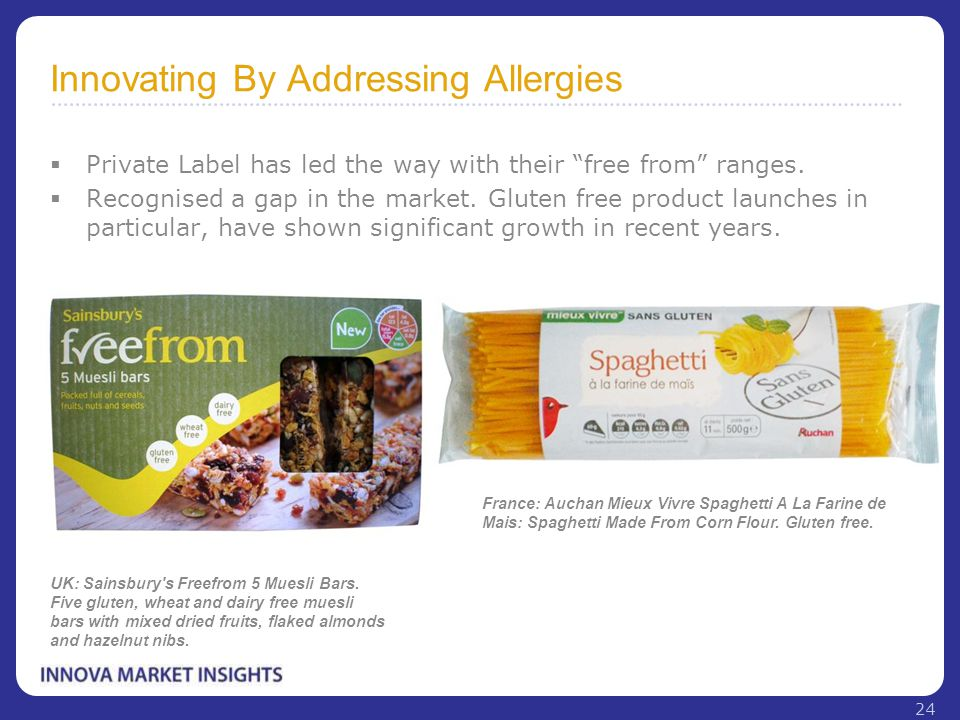 "Innovating By Addressing Allergies  Private Label has led the way with their ""free from"" ranges.  Recognised a gap in the market. Gluten free produc"