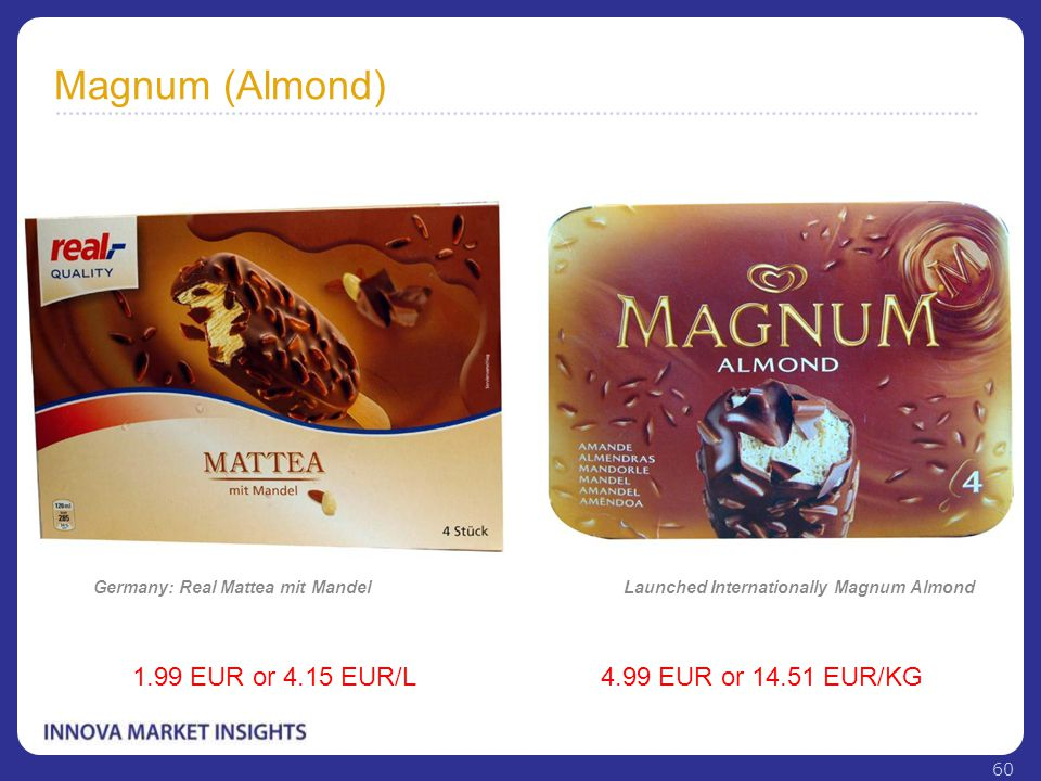 Magnum (Almond) Launched Internationally Magnum Almond 4.99 EUR or 14.51 EUR/KG Germany: Real Mattea mit Mandel 1.99 EUR or 4.15 EUR/L 60