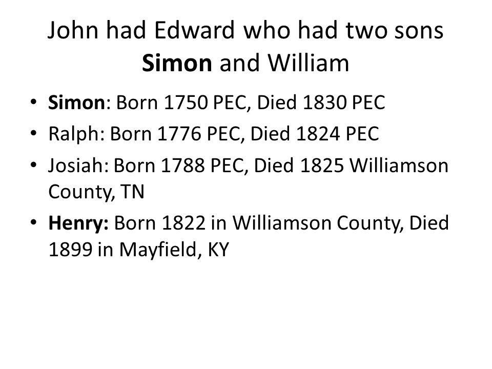 John had Edward who had two sons Simon and William Simon: Born 1750 PEC, Died 1830 PEC Ralph: Born 1776 PEC, Died 1824 PEC Josiah: Born 1788 PEC, Died 1825 Williamson County, TN Henry: Born 1822 in Williamson County, Died 1899 in Mayfield, KY