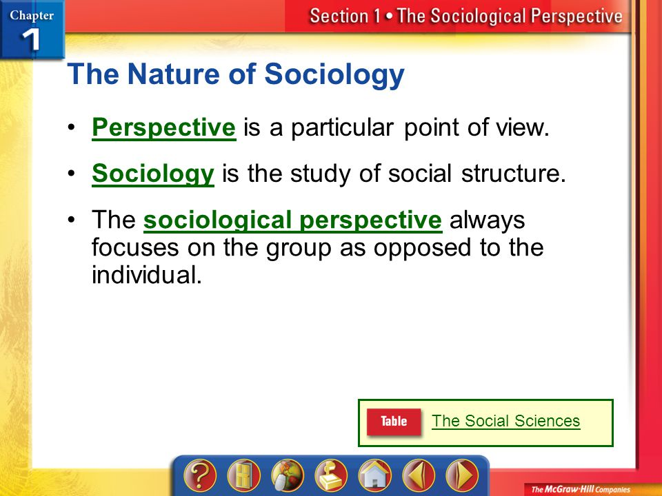 Section 1 The Nature of Sociology Perspective is a particular point of view.Perspective Sociology is the study of social structure.Sociology The sociological perspective always focuses on the group as opposed to the individual.sociological perspective The Social Sciences