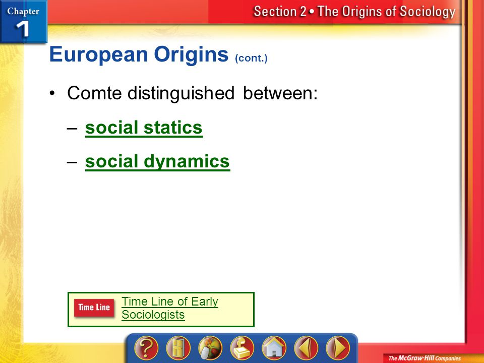 Section 2 European Origins (cont.) Comte distinguished between: –social staticssocial statics –social dynamicssocial dynamics Time Line of Early Sociologists
