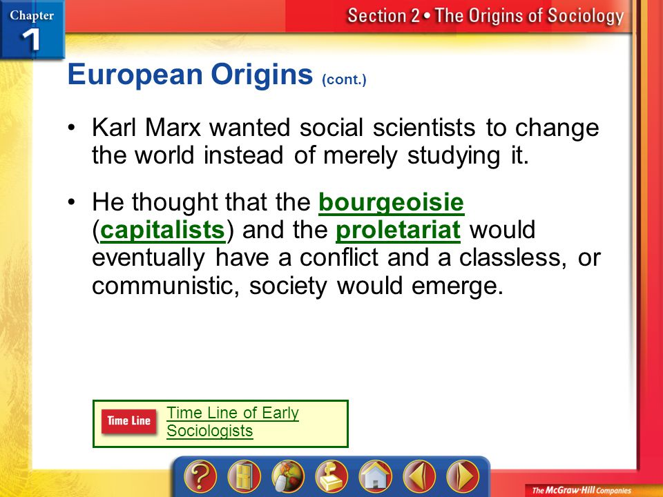 Section 2 European Origins (cont.) Karl Marx wanted social scientists to change the world instead of merely studying it.