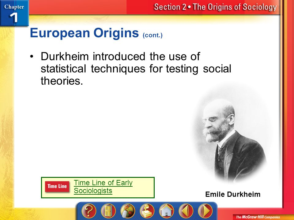 Emile Durkheim Section 2 European Origins (cont.) Durkheim introduced the use of statistical techniques for testing social theories.