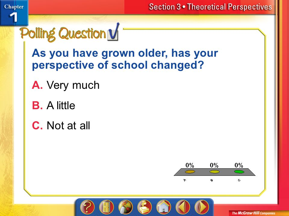 A.A B.B C.C Section 3-Polling Question As you have grown older, has your perspective of school changed.