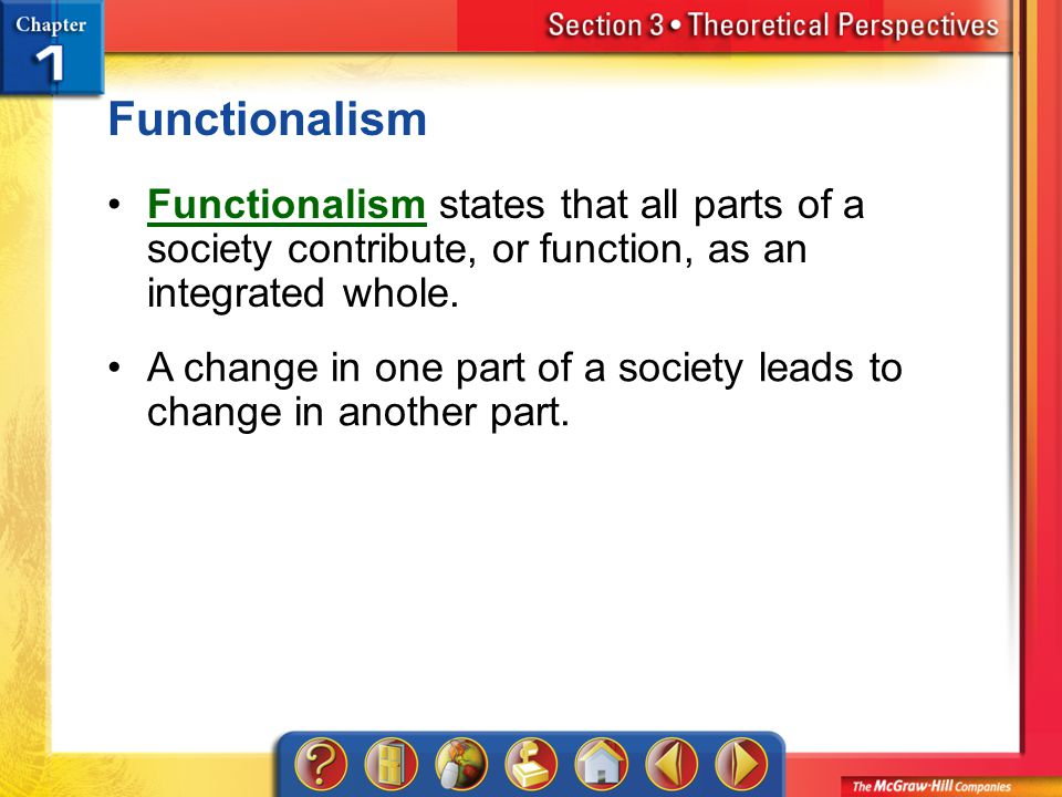 Section 3 Functionalism states that all parts of a society contribute, or function, as an integrated whole.Functionalism A change in one part of a society leads to change in another part.