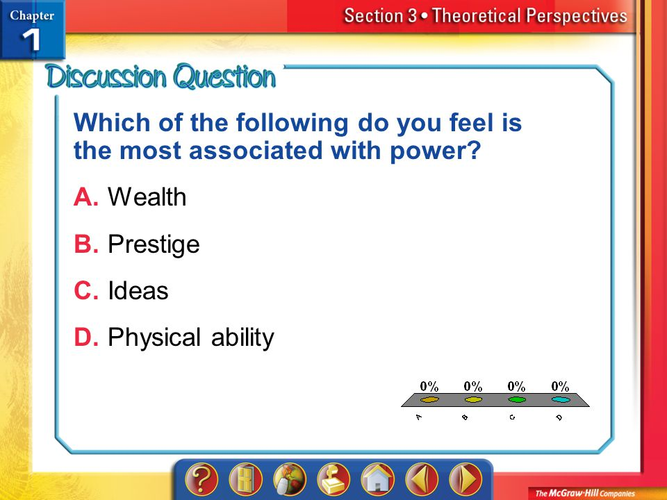 A.A B.B C.C D.D Section 3 Which of the following do you feel is the most associated with power.