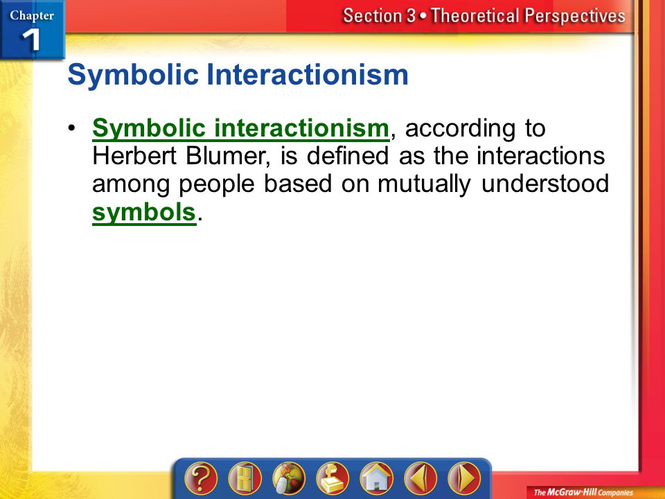 Section 3 Symbolic Interactionism Symbolic interactionism, according to Herbert Blumer, is defined as the interactions among people based on mutually understood symbols.Symbolic interactionism symbols