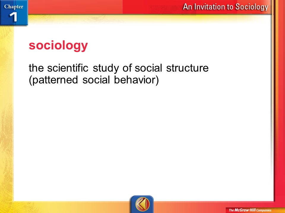 Vocab 2 sociology the scientific study of social structure (patterned social behavior)