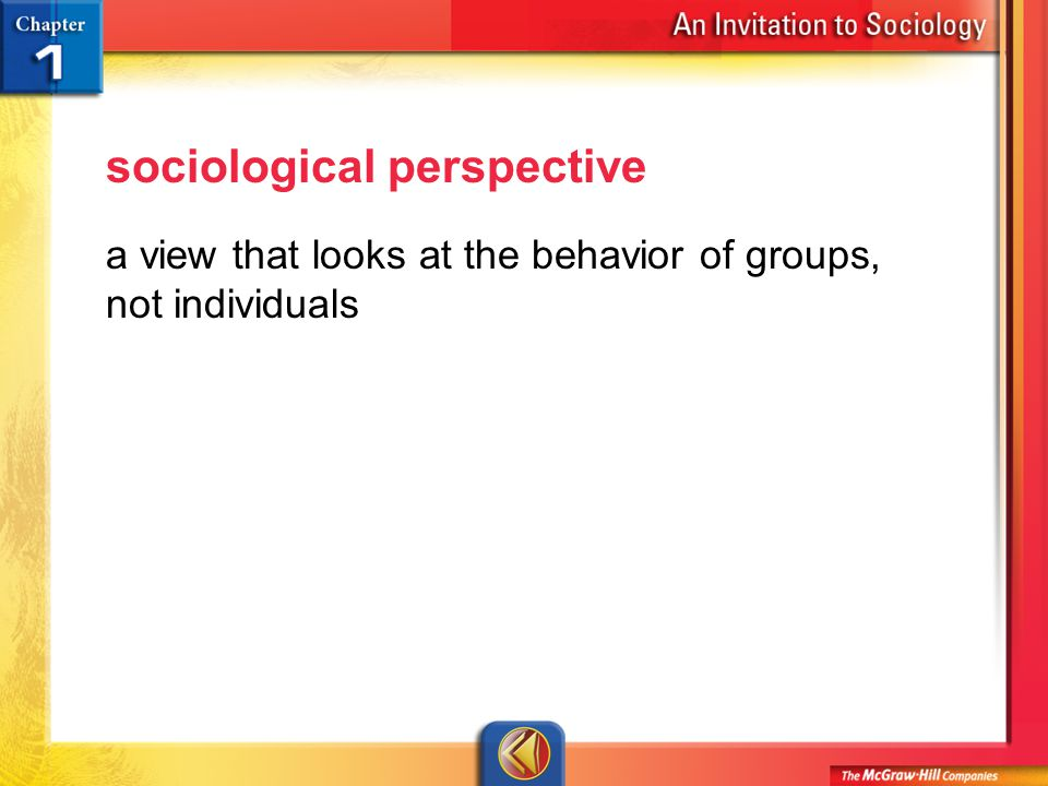 Vocab 3 sociological perspective a view that looks at the behavior of groups, not individuals