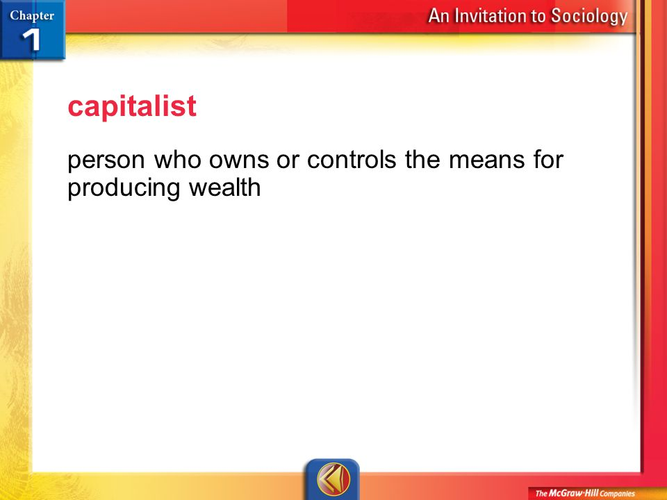 Vocab 10 capitalist person who owns or controls the means for producing wealth