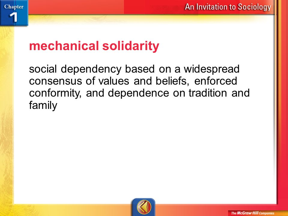 Vocab 13 mechanical solidarity social dependency based on a widespread consensus of values and beliefs, enforced conformity, and dependence on tradition and family