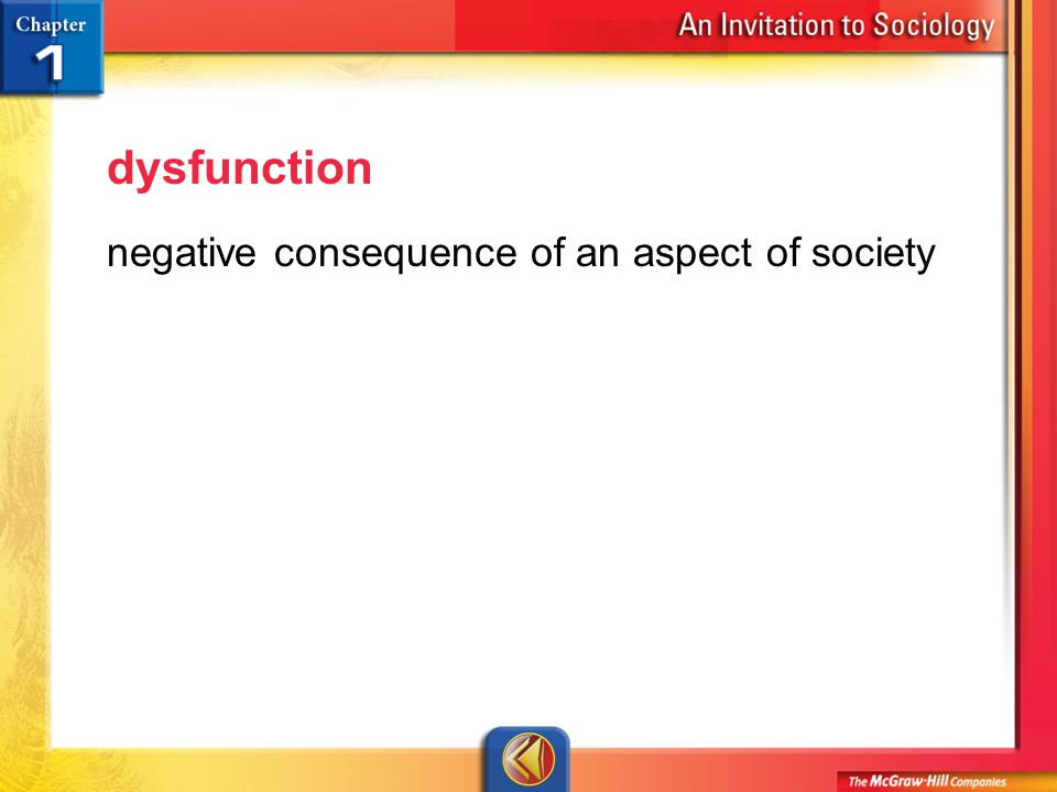 Vocab 21 dysfunction negative consequence of an aspect of society