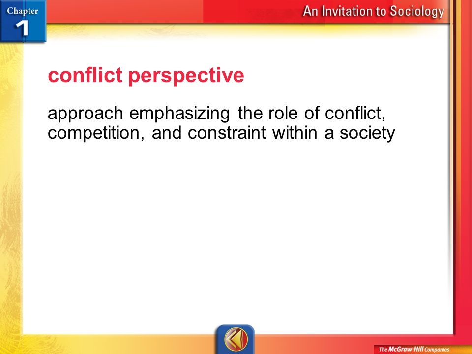 Vocab 22 conflict perspective approach emphasizing the role of conflict, competition, and constraint within a society