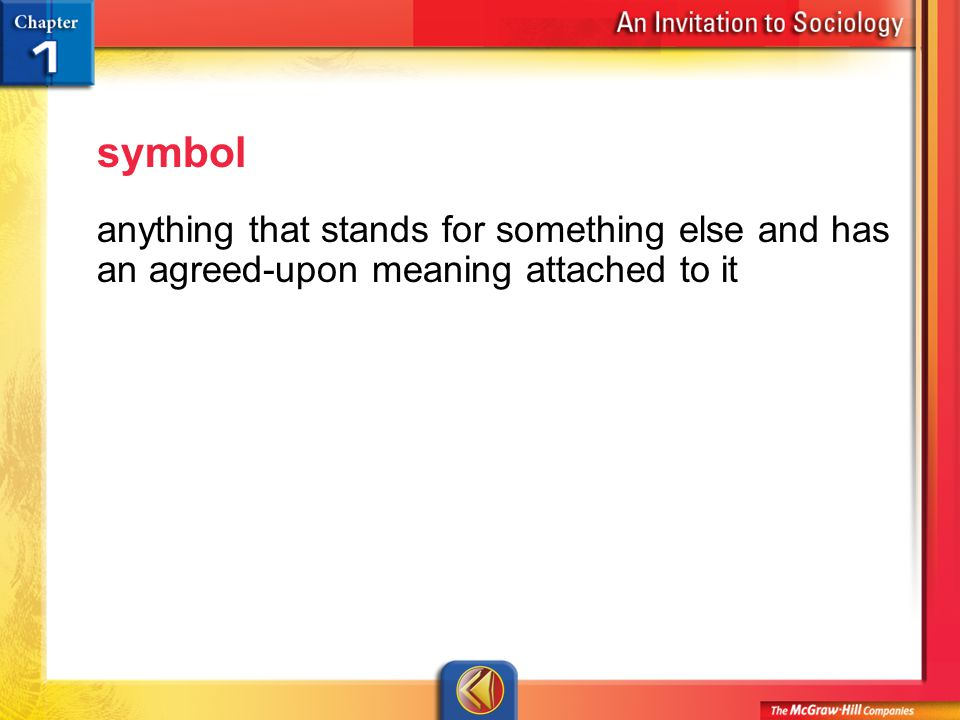 Vocab 24 symbol anything that stands for something else and has an agreed-upon meaning attached to it