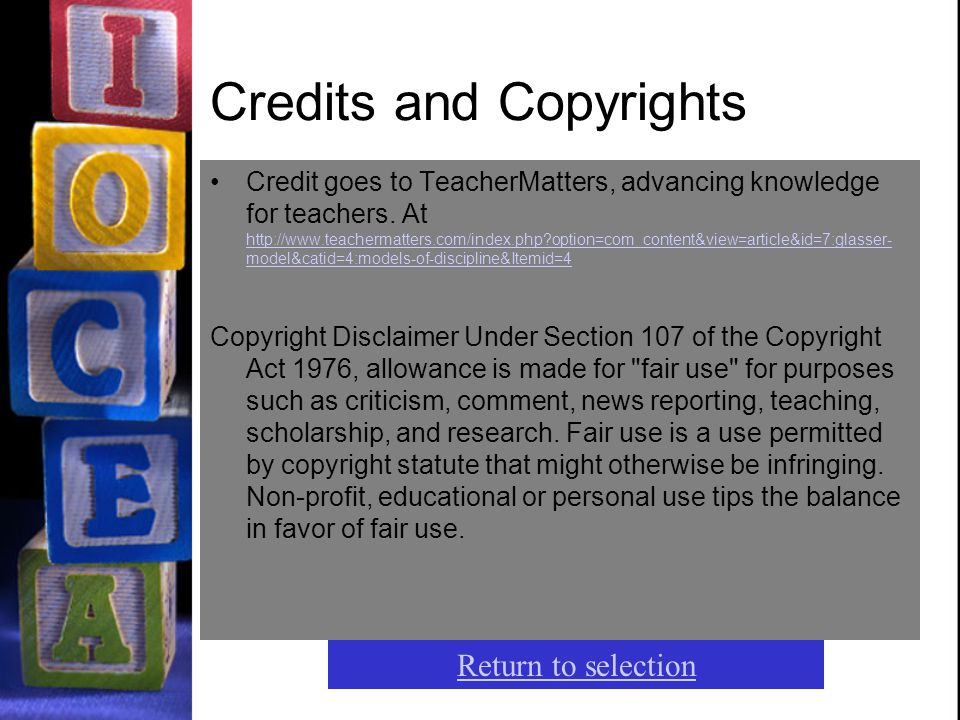 Credits and Copyrights Credit goes to TeacherMatters, advancing knowledge for teachers. At http://www.teachermatters.com/index.php?option=com_content&