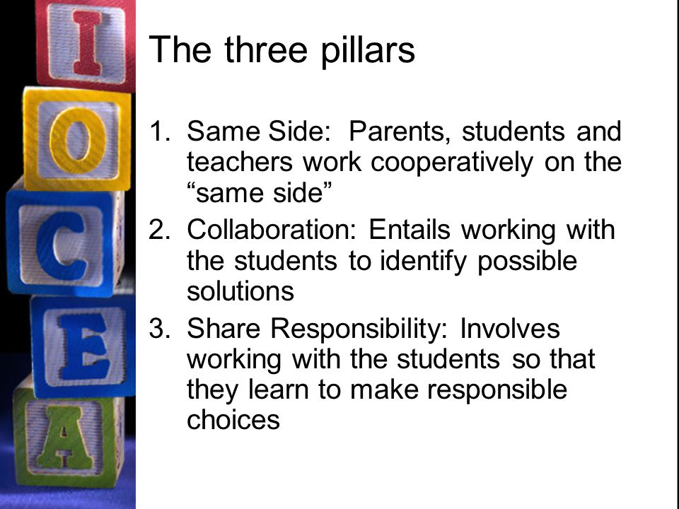 The three pillars 1.Same Side: Parents, students and teachers work cooperatively on the same side 2.Collaboration: Entails working with the students to identify possible solutions 3.Share Responsibility: Involves working with the students so that they learn to make responsible choices