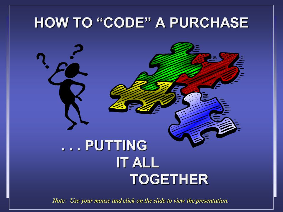 HOW TO CODE A PURCHASE...