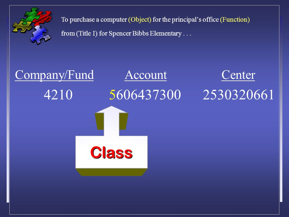Company/Fund Account Center 4210 5606437300 2530320661 Class To purchase a computer (Object) for the principal's office (Function) from (Title I) for Spencer Bibbs Elementary...