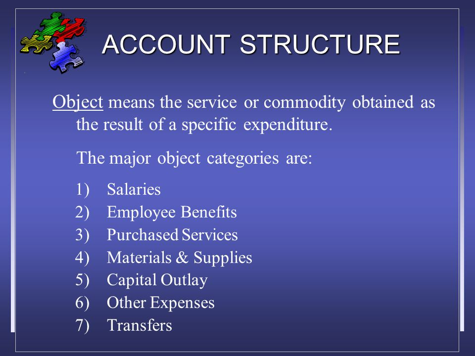 ACCOUNT STRUCTURE 1)Instruction 2)Instructional Support 3)General Support 4)Community Services 5)Non-programmed Charges Function means the action or purpose for which a person or thing is used or exists.