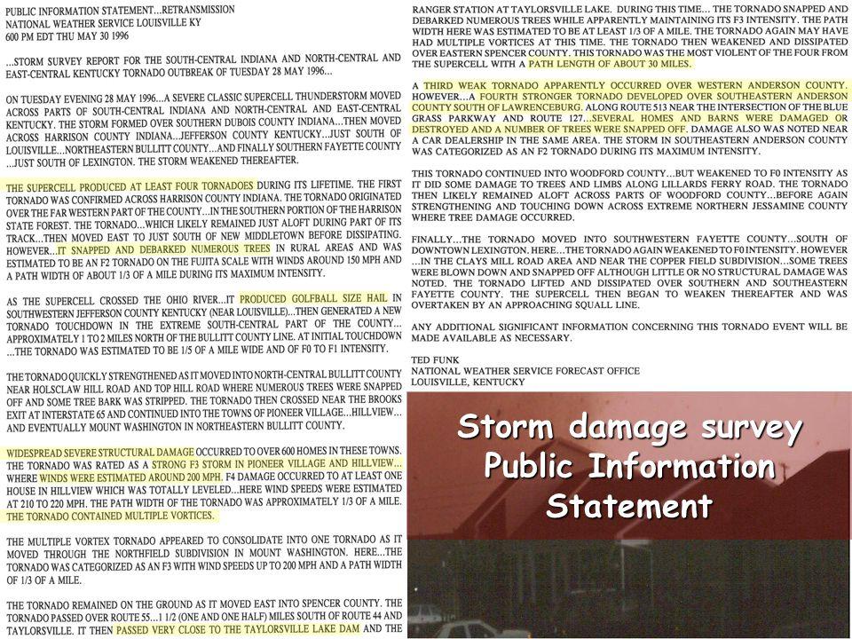 Storm damage survey Public Information Statement