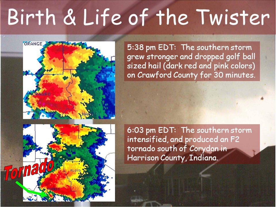 Birth & Life of the Twister 5:38 pm EDT: The southern storm grew stronger and dropped golf ball sized hail (dark red and pink colors) on Crawford Coun