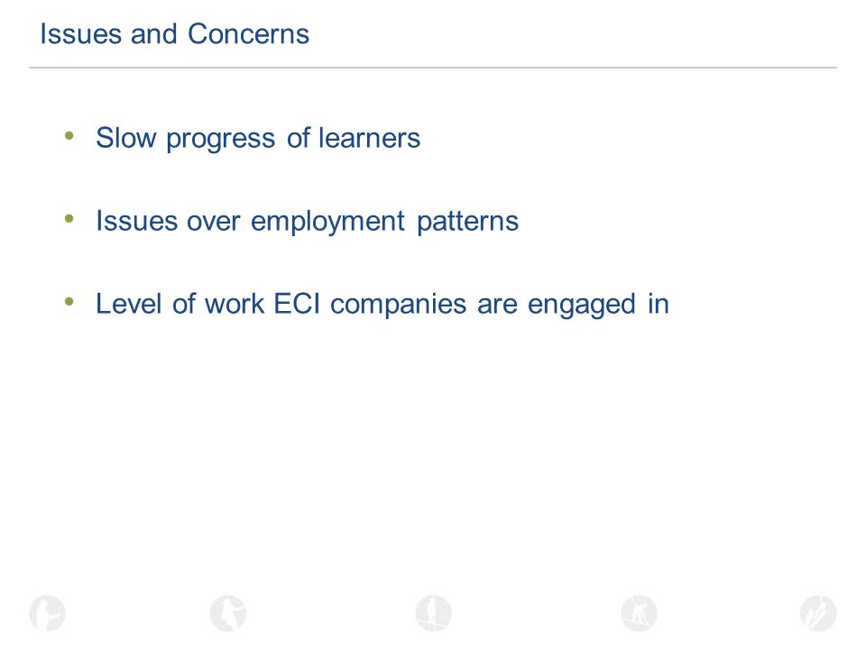 Issues and Concerns Slow progress of learners Issues over employment patterns Level of work ECI companies are engaged in