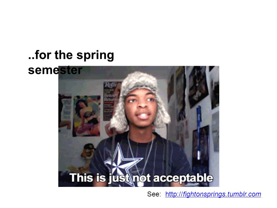 ..for the spring semester See: http://fightonsprings.tumblr.comhttp://fightonsprings.tumblr.com