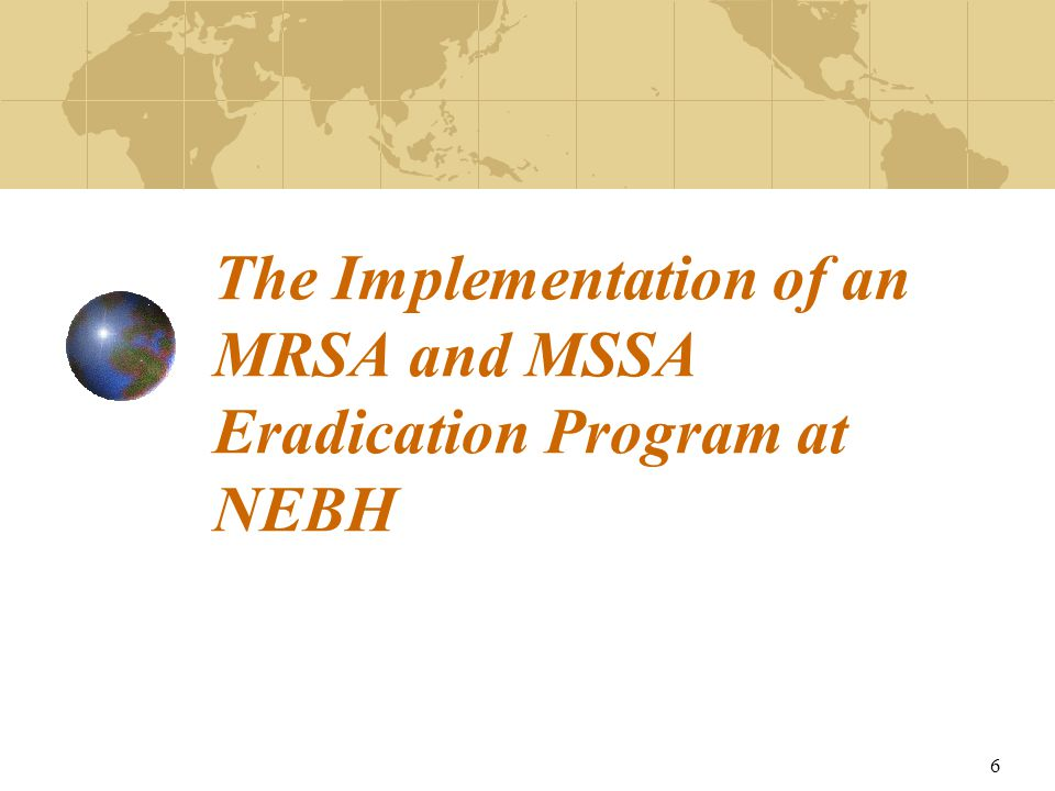 6 The Implementation of an MRSA and MSSA Eradication Program at NEBH