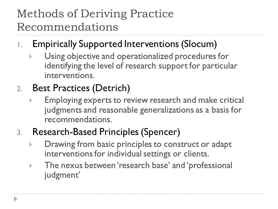 Methods of Deriving Practice Recommendations 1.