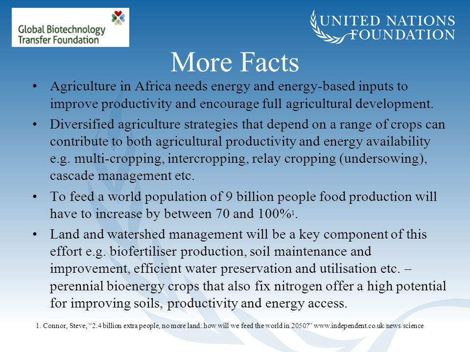 More Facts Agriculture in Africa needs energy and energy-based inputs to improve productivity and encourage full agricultural development. Diversified