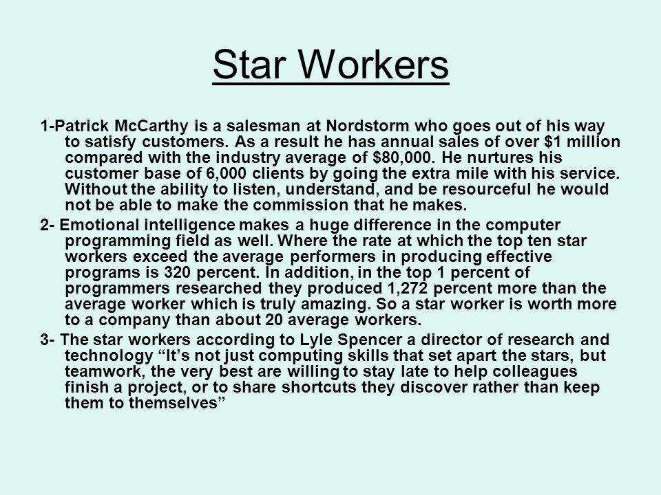 Star Workers 1-Patrick McCarthy is a salesman at Nordstorm who goes out of his way to satisfy customers.