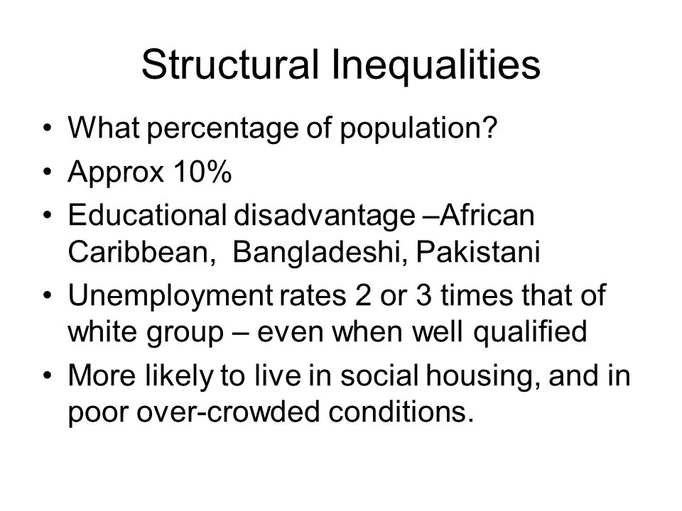 Structural Inequalities What percentage of population? Approx 10% Educational disadvantage –African Caribbean, Bangladeshi, Pakistani Unemployment rat