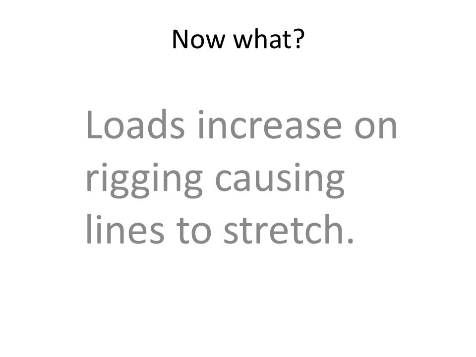 Now what? Loads increase on rigging causing lines to stretch.