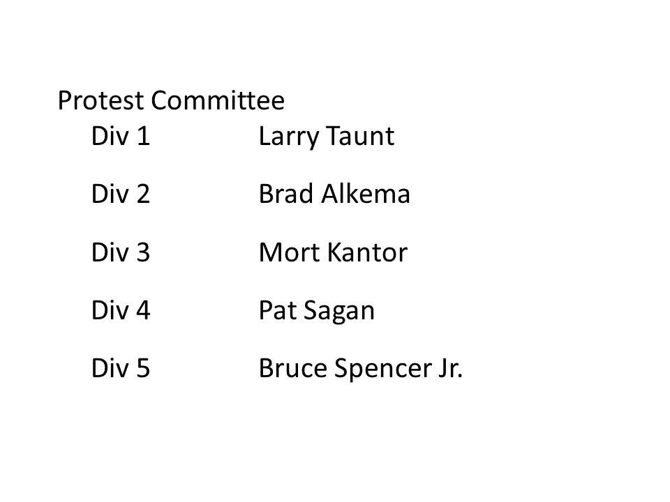 Protest Committee Div 1Larry Taunt Div 2Brad Alkema Div 3Mort Kantor Div 4Pat Sagan Div 5Bruce Spencer Jr.