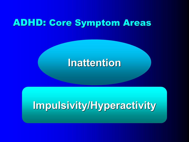 Inattention Impulsivity/Hyperactivity ADHD: Core Symptom Areas