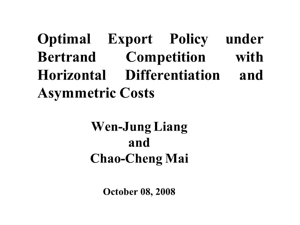 Optimal Characteristic The cost difference effect: as the cost difference  +c d – c f > (<) 0, the characteristic of the home firm tends to stay away from (get closer to) that of the foreign firm due to its cost disadvantage (advantage), while the behavior of the foreign firm is reversed.