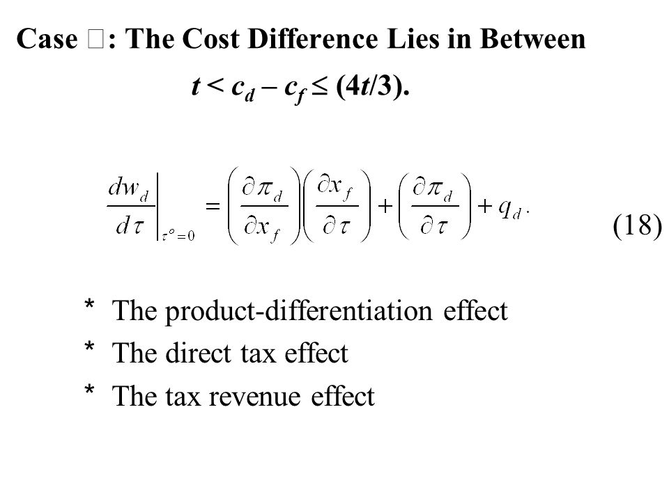 Case Ⅰ : The Cost Difference Lies in Between t < c d – c f  (4t/3).