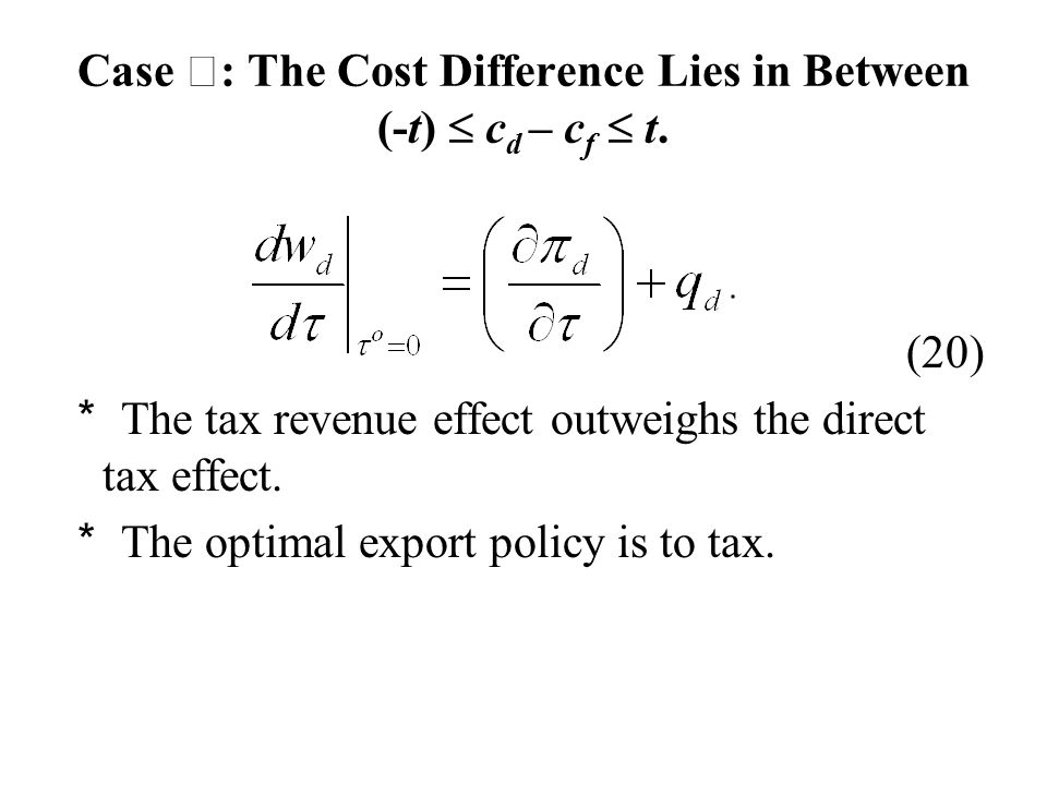 Case Ⅲ : The Cost Difference Lies in Between (-t)  c d – c f  t.