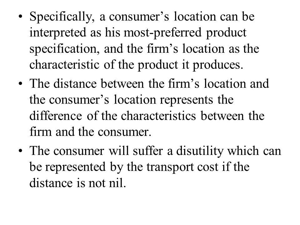 (1) The utility function: The marginal consumer's location: (2) The aggregate demand and profit for firms d and f: (3.1) (3.2) (4.1) (4.2)